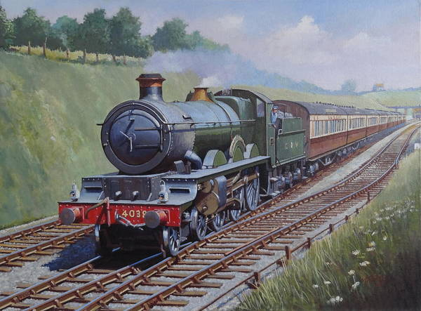Vintage Train Painting - Gwr Star Class by Mike Jeffries