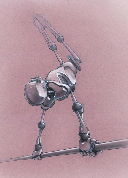 Wall Art - Drawing - Gym Bot - High Bar by Nicholas Bockelman