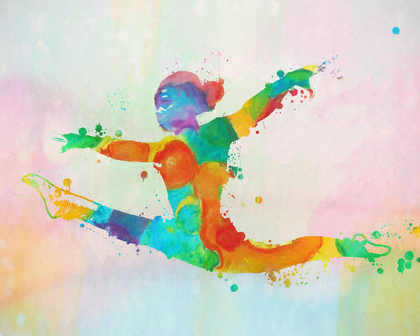 Wall Art - Painting - Gymnast Leap Paint Splatter by Dan Sproul