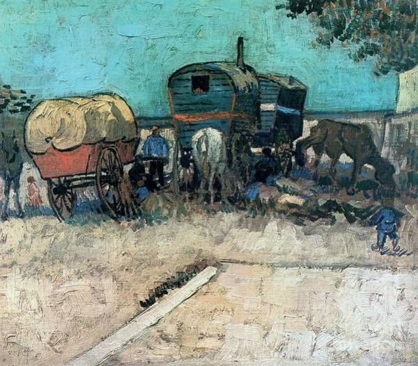 Painting - Gypsy Camp With Horse Carriage by Celestial Images