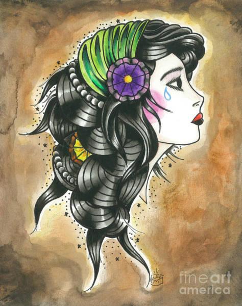 Tattoo Flash Painting - Gypsy Girl #2 by Jonathan VanderMey