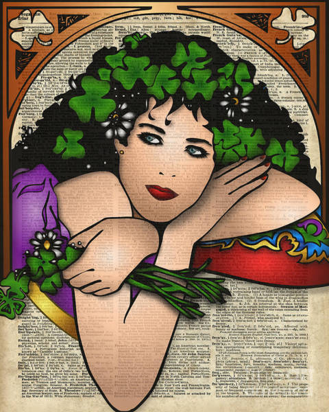 Wall Art - Digital Art - Gypsy Girl On Dictionary Page by Anna W