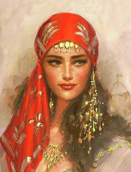 Wall Art - Painting - Gypsy Girl Portrait by Long Shot