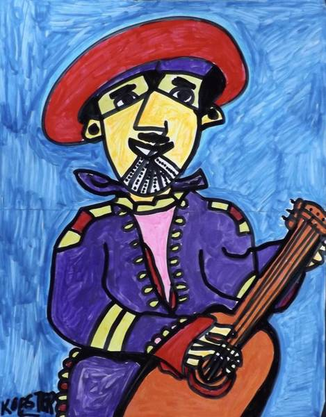 Caricature Mixed Media - Gypsy Guitarist  by Don Koester