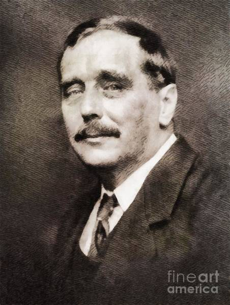 Poetry Painting - H. G. Wells, Literary Legend by John Springfield