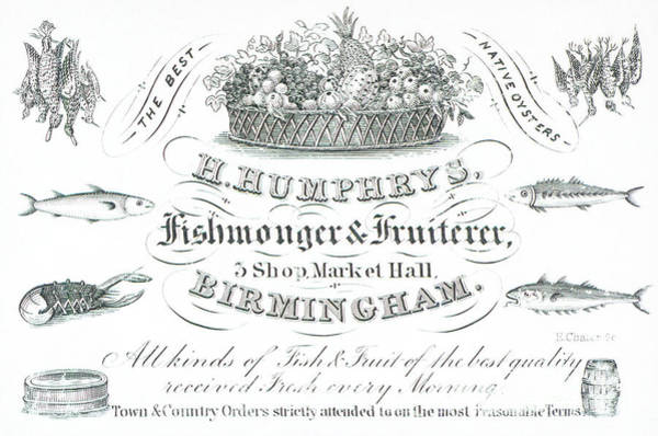 Pineapples Drawing - H Humphrys, Fishmonger And Fruiterer, Trade Card  by English School
