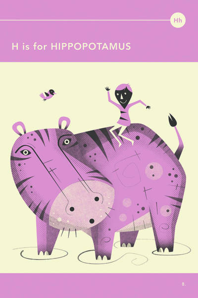 Wall Art - Digital Art - H Is For Hippopotamus by Jazzberry Blue