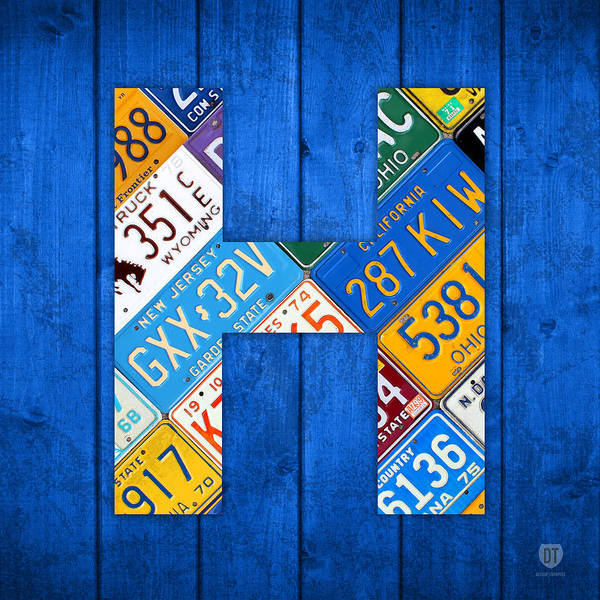 Background Mixed Media - H License Plate Letter Art Blue Background by Design Turnpike