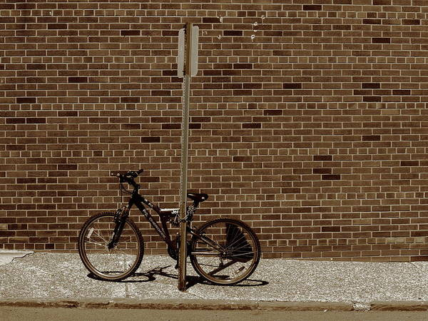 Photograph - Hackensack, Nj - Bricks And Bicycle Sepia 2018 by Frank Romeo