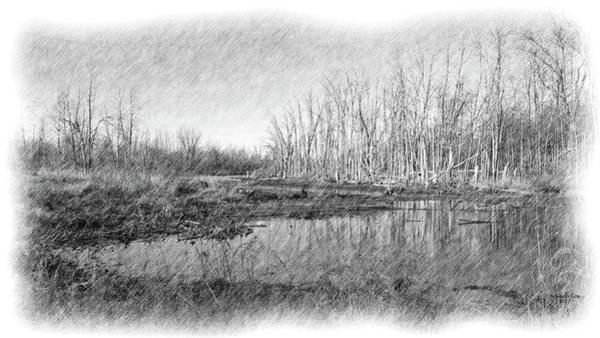 Digital Art - Hadley Michigan Landscape Pond 2017 by Artful Oasis