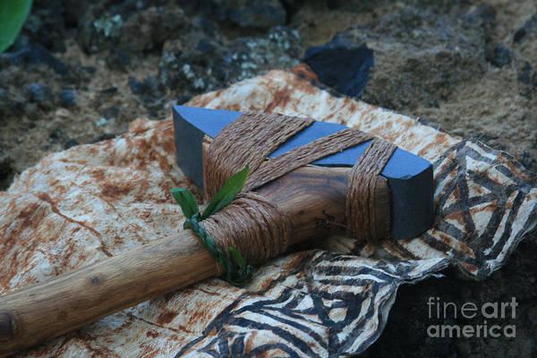 Photograph - Hafted Hawaiian Adze Wailea Maui Hawaii by Sharon Mau