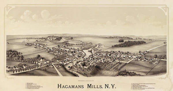 New York City Map Drawing - Hagamans Mills, N.y. by Burleigh Litho