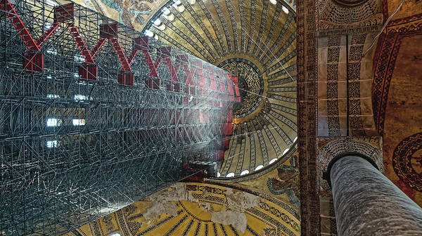 Photograph - Ceiling Of The Hagia Sofia, Istanbul 2009 by Chris Honeyman
