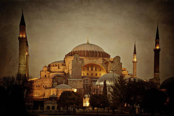 Photograph - Hagia Sophia Istanbul Turkey Night by Joan Carroll