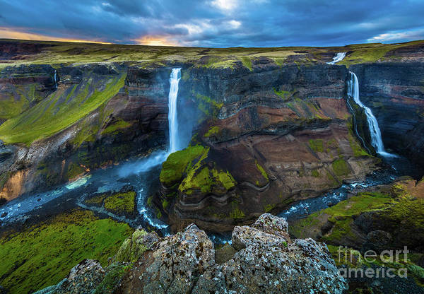 Photograph - Haifoss Twin Falls by Inge Johnsson