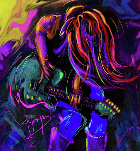 Sax Painting - Hair Guitar 2 by DC Langer