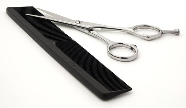 Stainless Steel Wall Art - Photograph - Hair Scissors And Comb by Blink Images