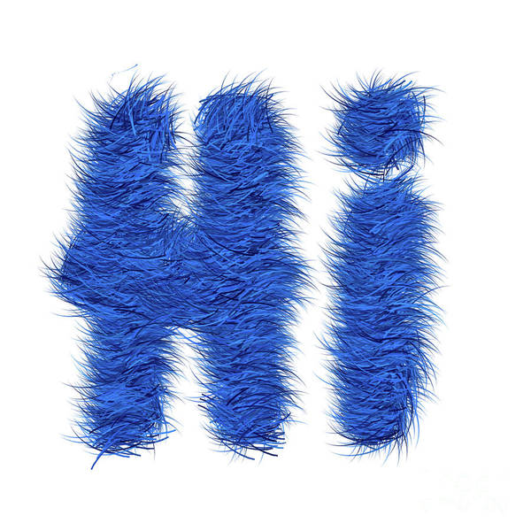 Hello Painting - Hairy Blue Hi by Genevieve Esson