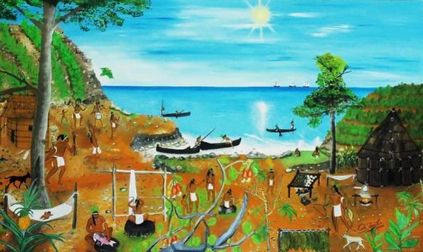 Haiti Painting - Haiti 1492 Before Christopher Columbus by Nicole Jean-Louis