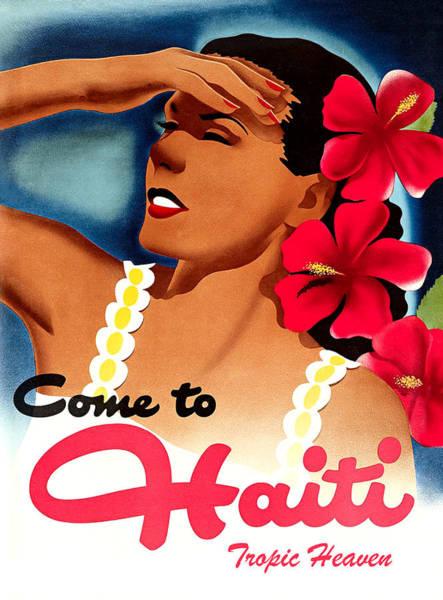 Haiti Painting - Haiti, Woman With Exotic Flowers by Long Shot