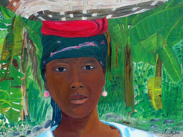 Haiti Painting - Haitian Woman   2 by Nicole Jean-Louis