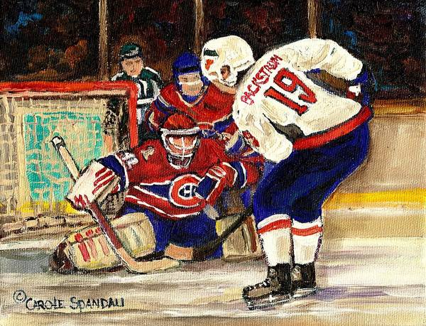 Painting - Halak Blocks Backstrom In Stanley Cup Playoffs 2010 by Carole Spandau