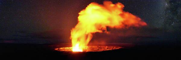 Magma Wall Art - Photograph - Halemaumau Night Panorama by Christopher Johnson
