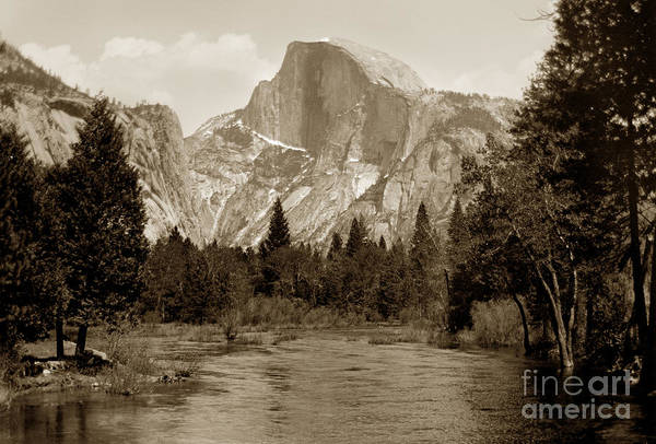 Photograph - Half Dome Merced River Yosemite Valley Circa 1910 by California Views Archives Mr Pat Hathaway Archives
