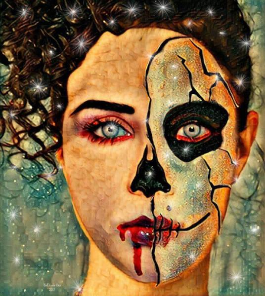 Digital Art - Half Human Half Skull Face by Artful Oasis