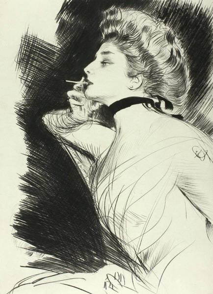 Elegant Drawing - Half Length Portrait Of A Seated Woman, Smoking A Cigarette, Facing Left by Paul Helleu