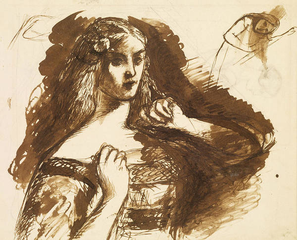 Drawing - Half-length Sketch Of A Young Woman by Dante Gabriel Rossetti