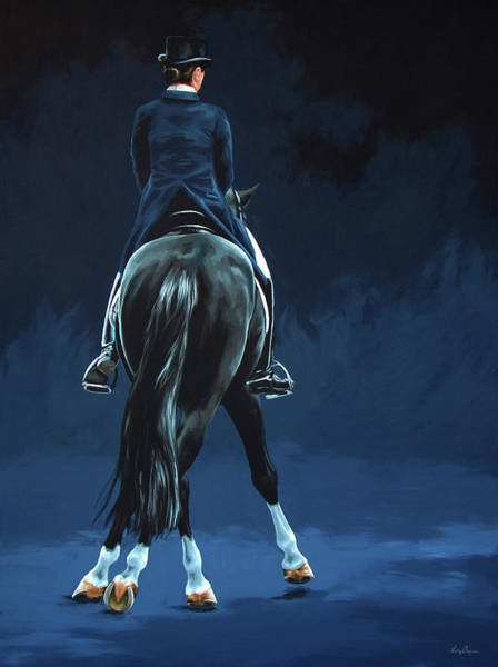 Dressage Wall Art - Painting - Half Pass Midnight by Lesley Alexander