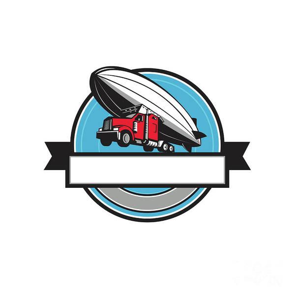 Semi-truck Digital Art - Half Zeppelin Blimp Half Semi-truck Flying Overhead Retro by Aloysius Patrimonio