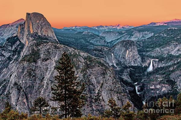 Halfdome And The Waterfalls At Sunset Art Print by Dan Carmichael