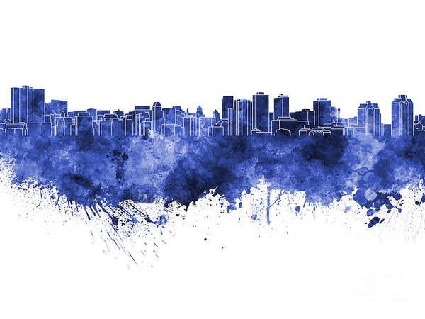 Nova Scotia Painting - Halifax Skyline In Blue Watercolor On White Background by Pablo Romero