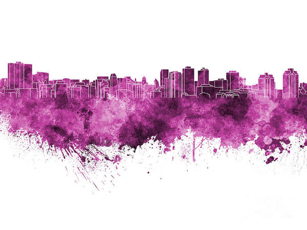 Nova Scotia Painting - Halifax Skyline In Pink Watercolor On White Background by Pablo Romero