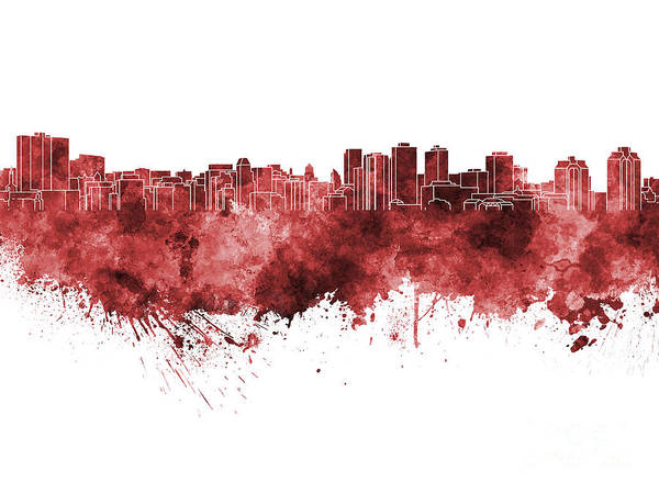 Nova Scotia Painting - Halifax Skyline In Red Watercolor On White Background by Pablo Romero