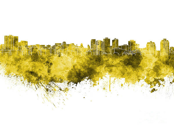 Nova Scotia Painting - Halifax Skyline In Yellow Watercolor On White Background by Pablo Romero