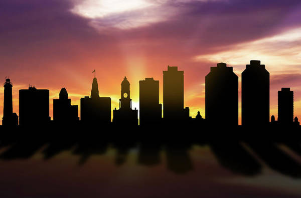 Halifax Wall Art - Digital Art - Halifax Skyline Sunset Canshx22 by Aged Pixel