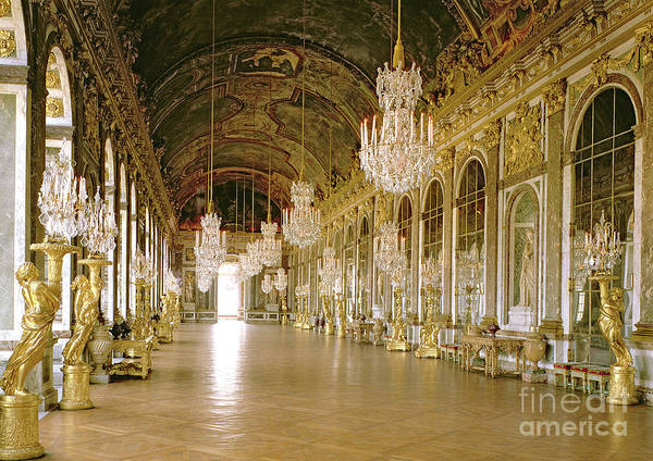 Colonnade Photograph - Hall Of Mirrors At The Chateau De Versailles by Jules Hardouin Mansart