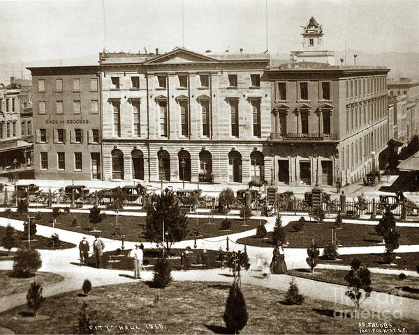 Photograph - Hall Of Records, City Hall, Plaza, San Francisco, California 1866 by California Views Archives Mr Pat Hathaway Archives