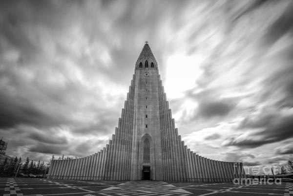 Reykjavik Photograph - Hallgrimskirkja Bw by Michael Ver Sprill