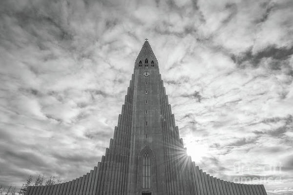 Photograph - Hallgrimskirkja Sunburst Bw by Michael Ver Sprill