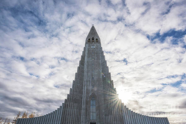 Photograph - Hallgrimskirkja Sunburst by Michael Ver Sprill
