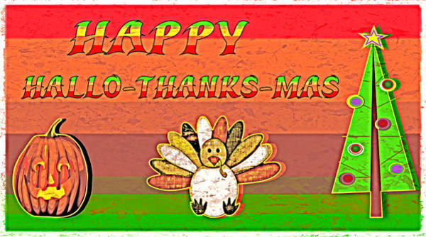Christmas Season Wall Art - Digital Art - Hallo Thanks Mas - Pop Grunge by Steve Ohlsen