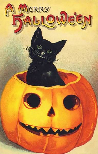 Painting - Halloween Black Cat by Vintage Art