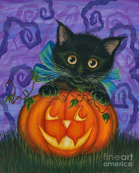 Halloween Black Kitty - Cat And Jackolantern Art Print
