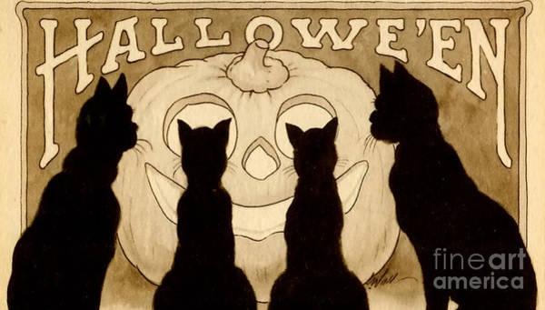 Black Cat Painting - Halloween Card by American School