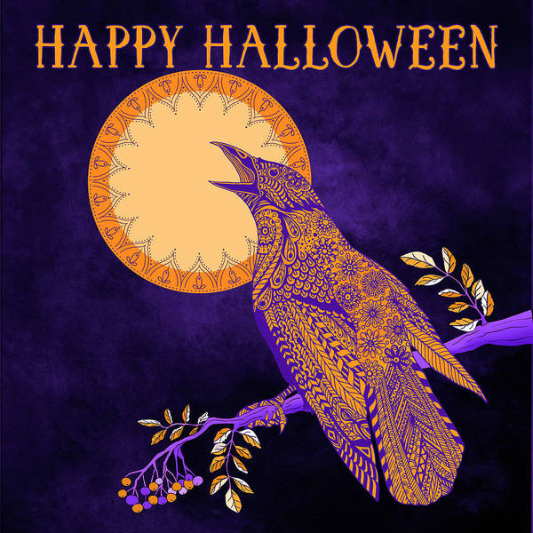 Raven Drawing - Halloween Crow And Moon by Tammy Wetzel