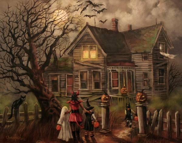 Full Moon Wall Art - Painting - Halloween Dare by Tom Shropshire